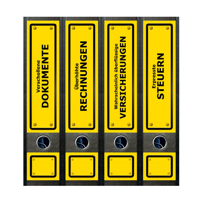 Geschenkwichtel Ordner Ruckenschilder Yellow Signs Ordner