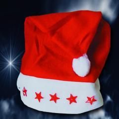 Weihnachtsmütze mit blinkenden Sternen