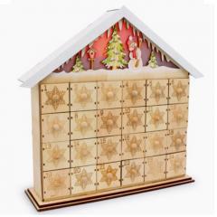 geschenkwichtel adventskalender schnee haus mit. Black Bedroom Furniture Sets. Home Design Ideas