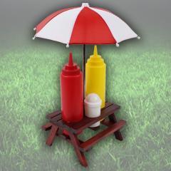 Picknick -Tisch Menage mit Gewürzständer