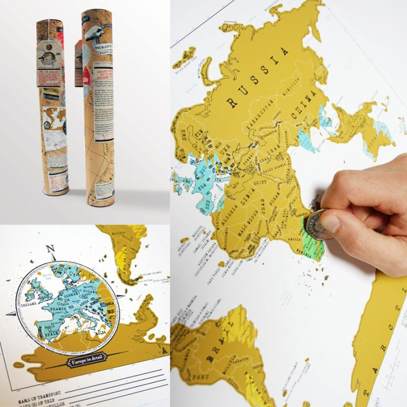 Geschenkwichtel Rubbel Weltkarte Scratch Map Travel Edition Die – Scratch Map Travel Edition