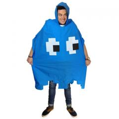 Retro Arcade Regen-Poncho - blau