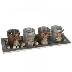 Weihnachts-Deko Holzteller mit Teelichthaltern