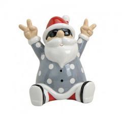 Keramikfigur Rocking Santa grau